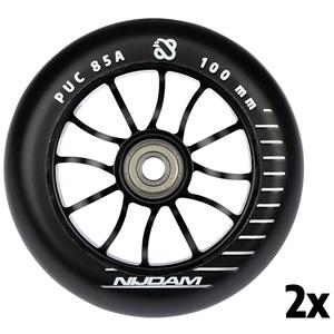 N70FD01 - Stuntstep wielen - 100x24 mm - 2st - Spoked Black