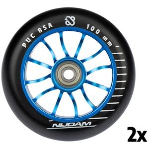 N70FD02 - Stuntstep Wielen Set - 100x24 mm - 2st - Spoked Blue
