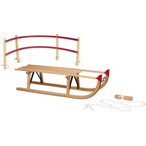 2205 - Sledge Wood • Davos 100 cm • + Backrest + Pulling Cord
