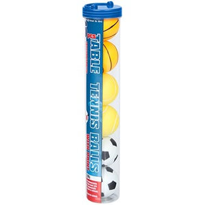 61PJ - Table Tennis Balls with Print in Tube • 6 Pieces •