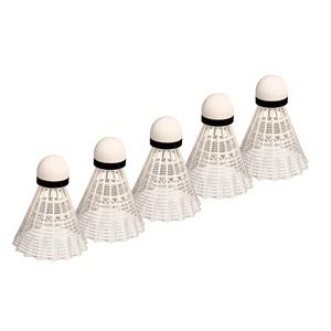 65SB - Badminton Shuttles in Koker • Wit • 5 Stuks •